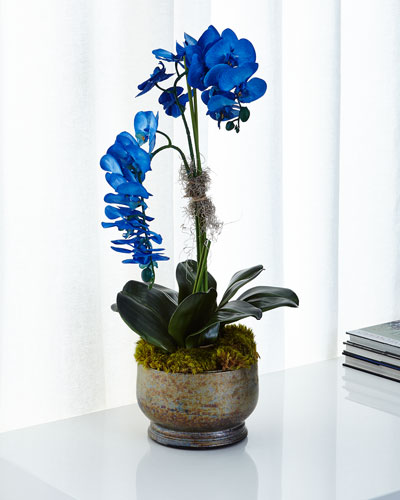 Majestic Blue Orchids Faux Floral