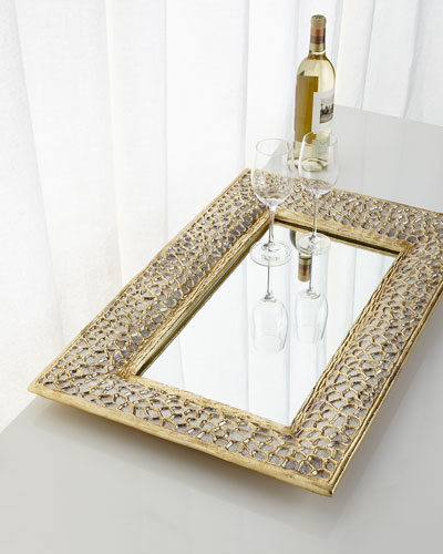 Gold & Silver Organic Mirrored Tray