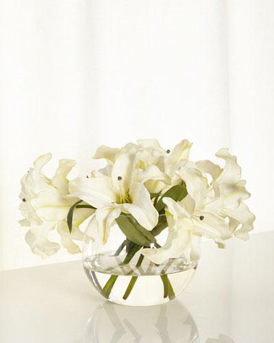 Oriental Lilies Faux-Floral Arrangement