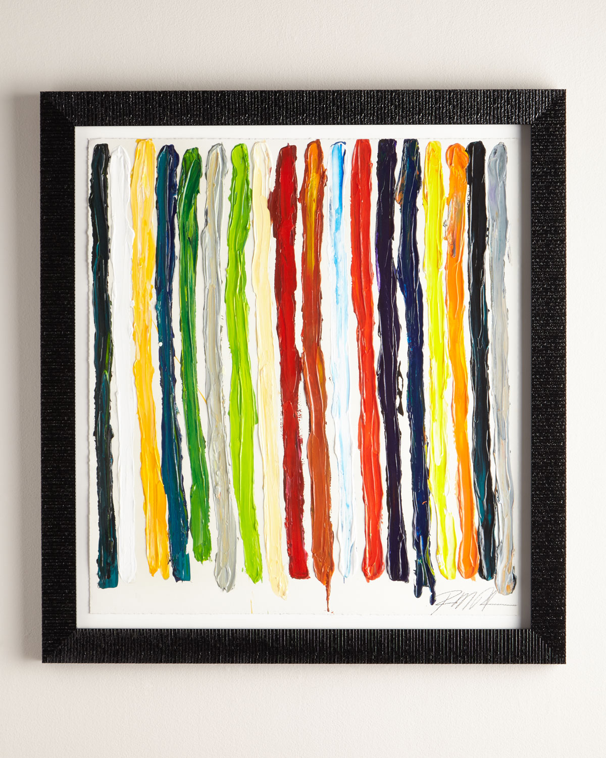 """EXCLUSIVELY AT NEIMAN MARCUS Abstract giclee on fine art paper by Robinson. 45""""W x 2.5""""D x 49""""T. Polyurethane frame; framed under plexiglass. Handcrafted in the USA. Weight, 29 lbs. Boxed weight, approximately 35 lbs."""