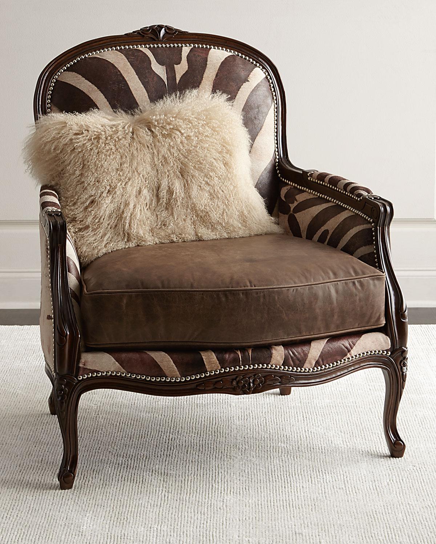 Titus Zebra-Print Bergere Chair