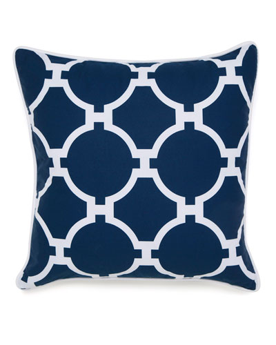 Hampton Links Navy & White Print Pillow, 18