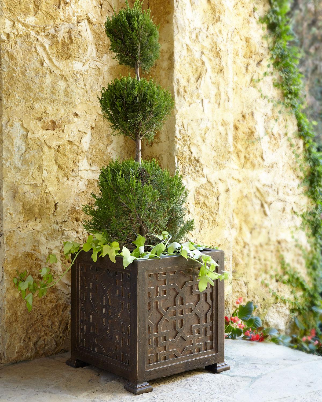 Fretwork Outdoor Planter, Bronze