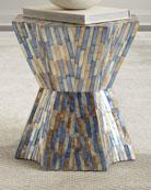 Blue Stripe Garden Stool