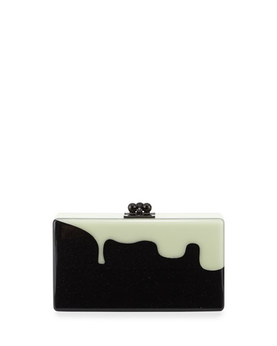 Jean Slim Box Clutch Bag, Obsidian Sand/Glow
