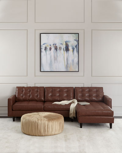 Barnes Leather Right-Arm Chaise Sectional