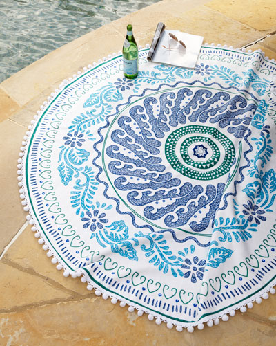Round Cita Blue Beach Towel