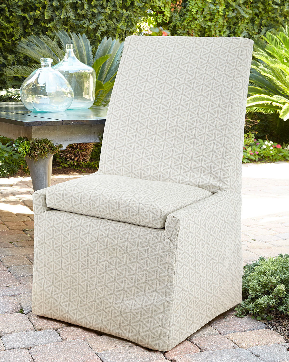 Beige Bennett Outdoor Dining Side Chair