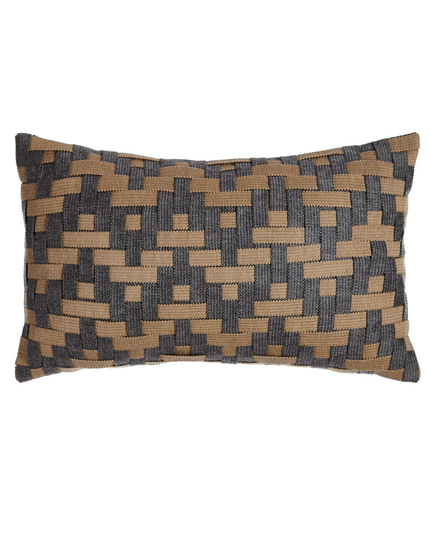 Smoky Basketweave Outdoor Pillow