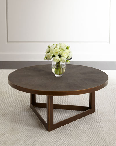 Ebba Faux-Shagreen Round Coffee Table