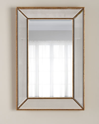 Goldtone Beaded Mirror