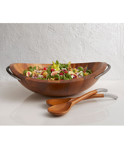 Braid Wood Salad Bowl with Servers