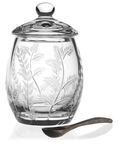 Fern Covered Honey Jar