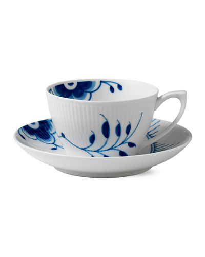 Blue Fluted Mega Cup and Saucer