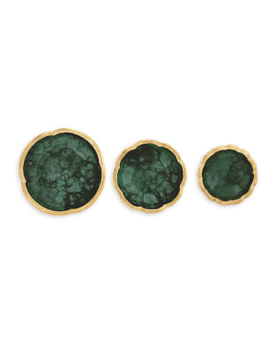 Malachite-Green Flower Dishes, Set of 3