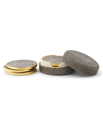 4 Embossed Faux-Shagreen Coasters