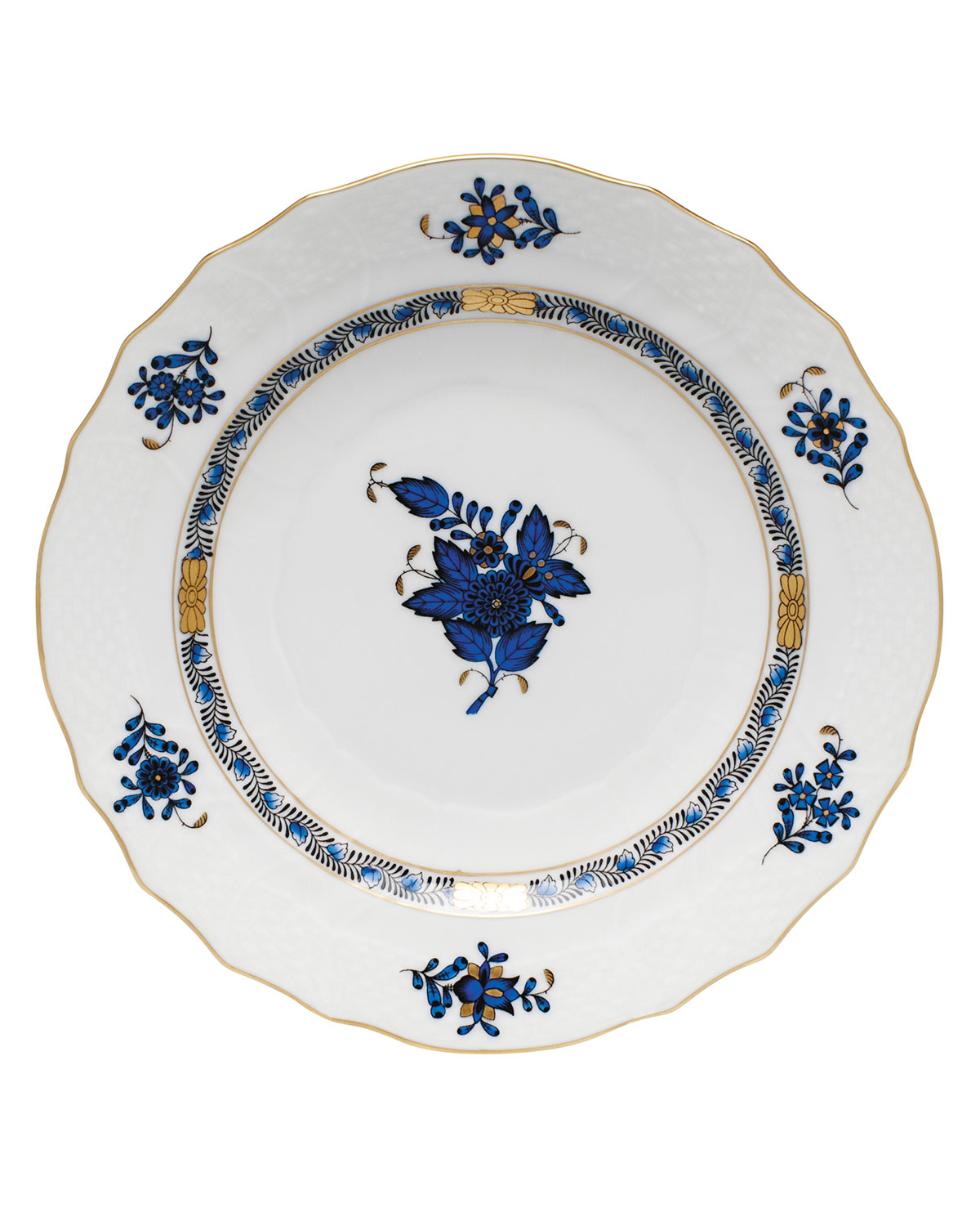 Herend Dinnerwares CHINESE BOUQUET BLACK SAPPHIRE SALAD PLATE
