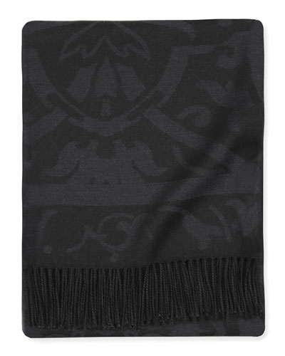 Fringed Damask Jacquard Throw