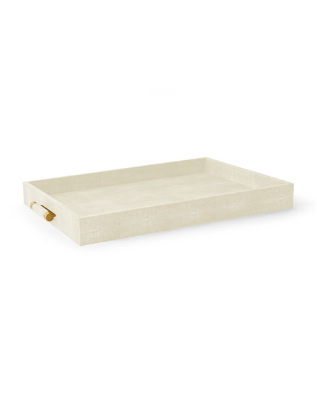 AERIN Cream Shagreen Butler Tray