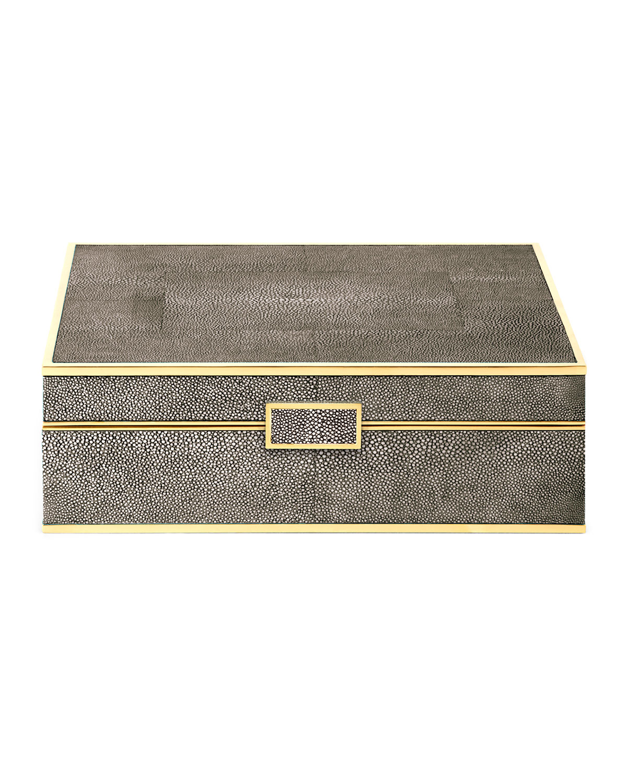 Aerin LARGE CHOCOLATE FAUX-SHAGREEN JEWELRY BOX