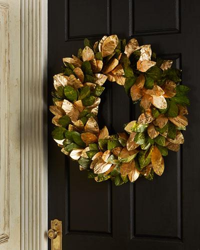 Gold & Glitter Magnolia - Leaf Wreath