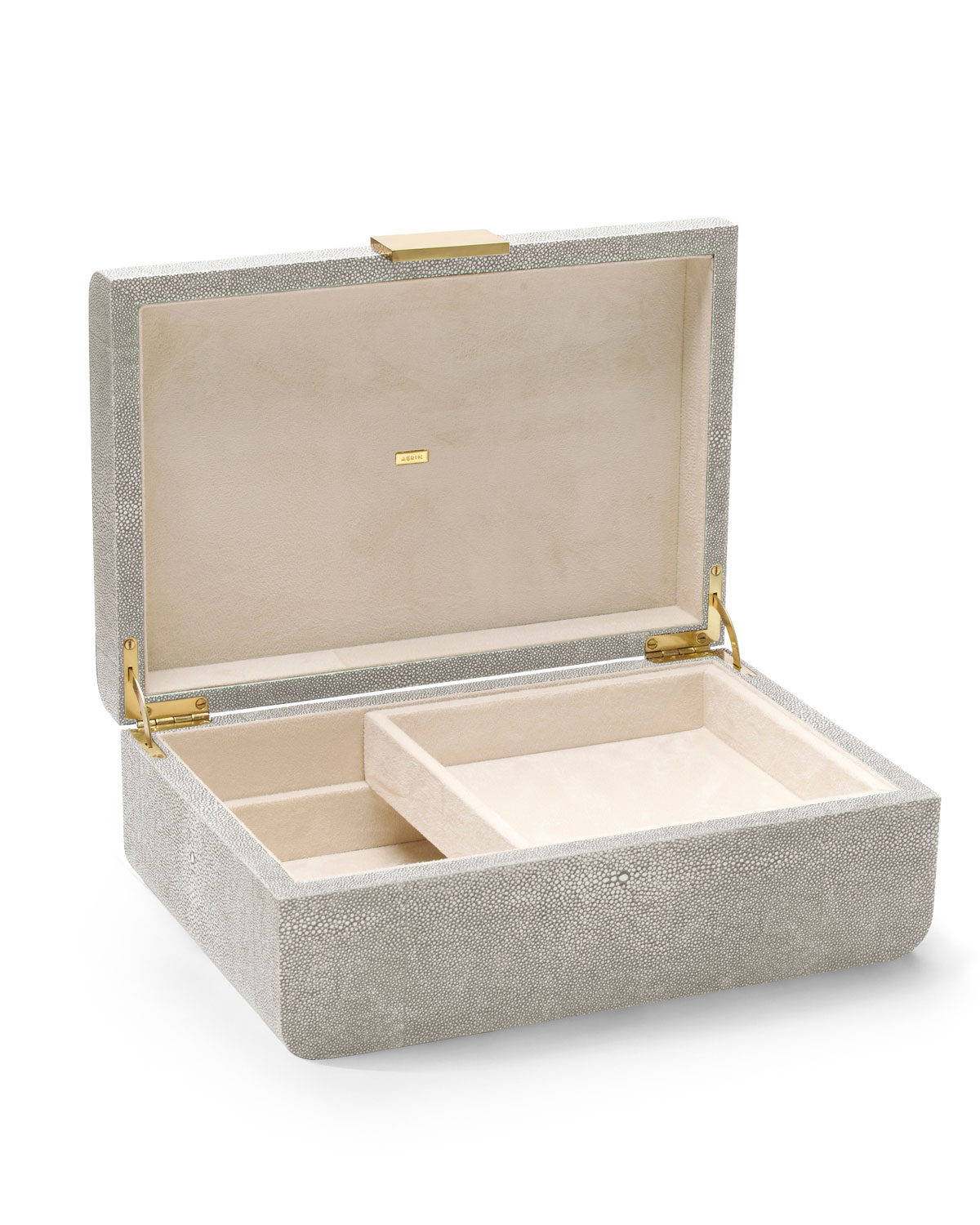 Aerin Clothing MODERN LARGE EMBOSSED FAUX-SHAGREEN JEWELRY BOX