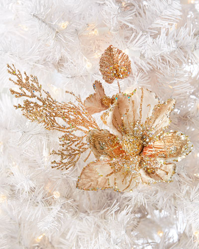 Katherine's Collection Encrusted Magnolia Clip Ornament