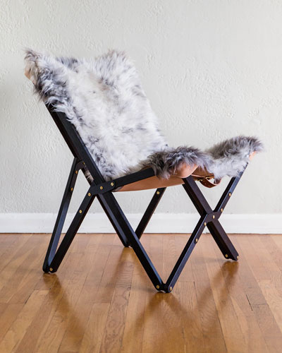 Dollie Noir Silver Blue Sheepskin Chair