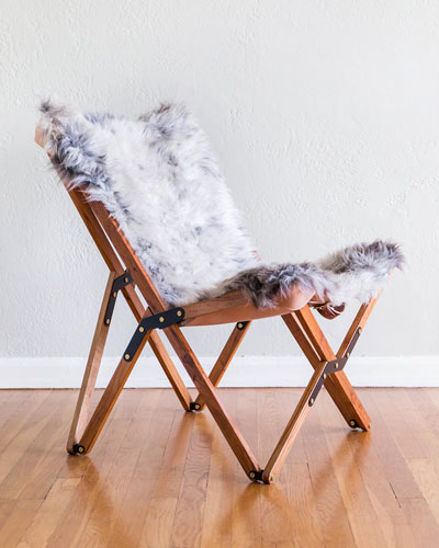 Dollie Natural Silver Blue Sheepskin Chair