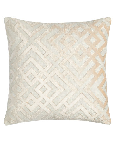 Karl Basketweave Pillow with Velvet Applique