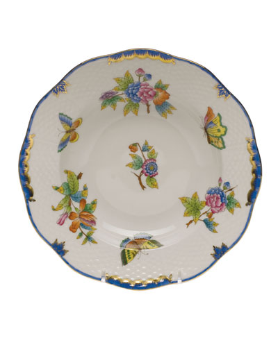 Queen Victoria Blue Rim Soup Bowl