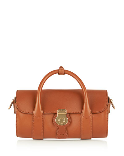 Small Leather Barrel Bag, Light Brown