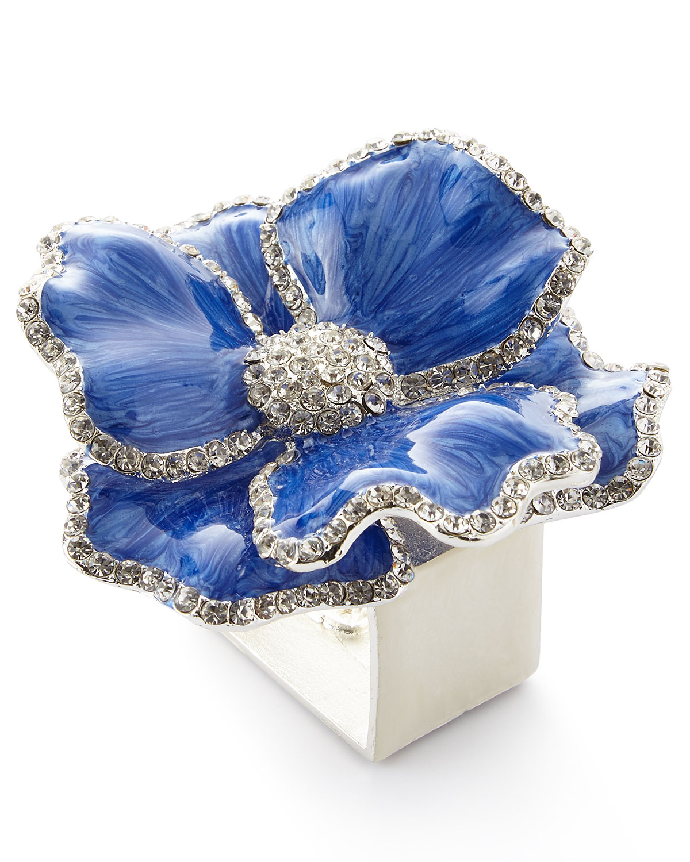 Nomi K Clothing FLORAL CRYSTAL NAPKIN RINGS, SET OF FOUR, BLUE