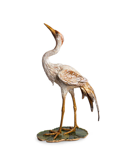 Jay Strongwater Nelson Crane on Lily Pad Figurine
