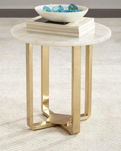 Kendall White Quartz Side Table