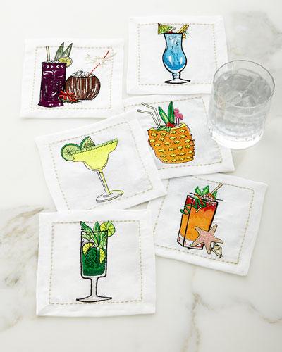 Summer Drinks Cocktail Napkins, Set of 6