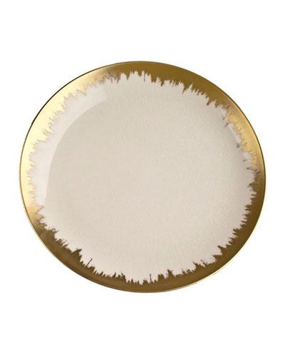 Aura Opal/Gold Brushstroke Dessert Plate