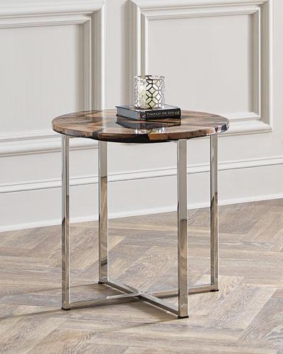 Tessa Petrified Wood Side Table