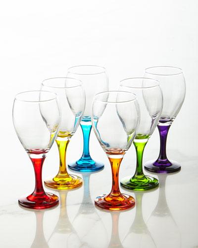 Six Rainbow Crystal Wine Glasses