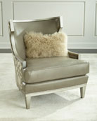 Harding Leather Wingback Chair, Gray Metallic