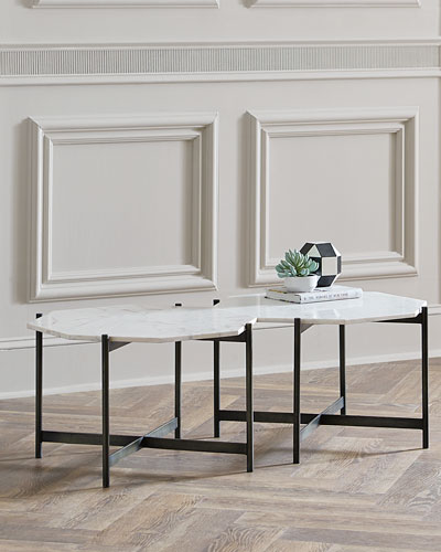 Ethan Allen Jordan Bunching Coffee Table: White Imported Coffee Table