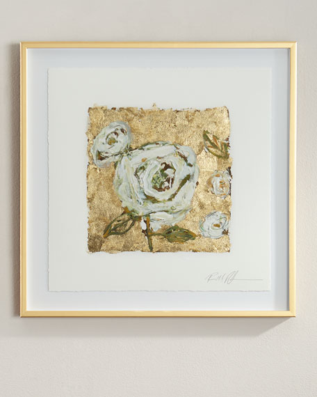 """RFA Fine Art """"Gold and Roses"""" Giclee on Paper Wall Art"""