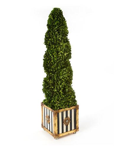 Indoor/Outdoor Faux-Boxwood Swirl Topiary