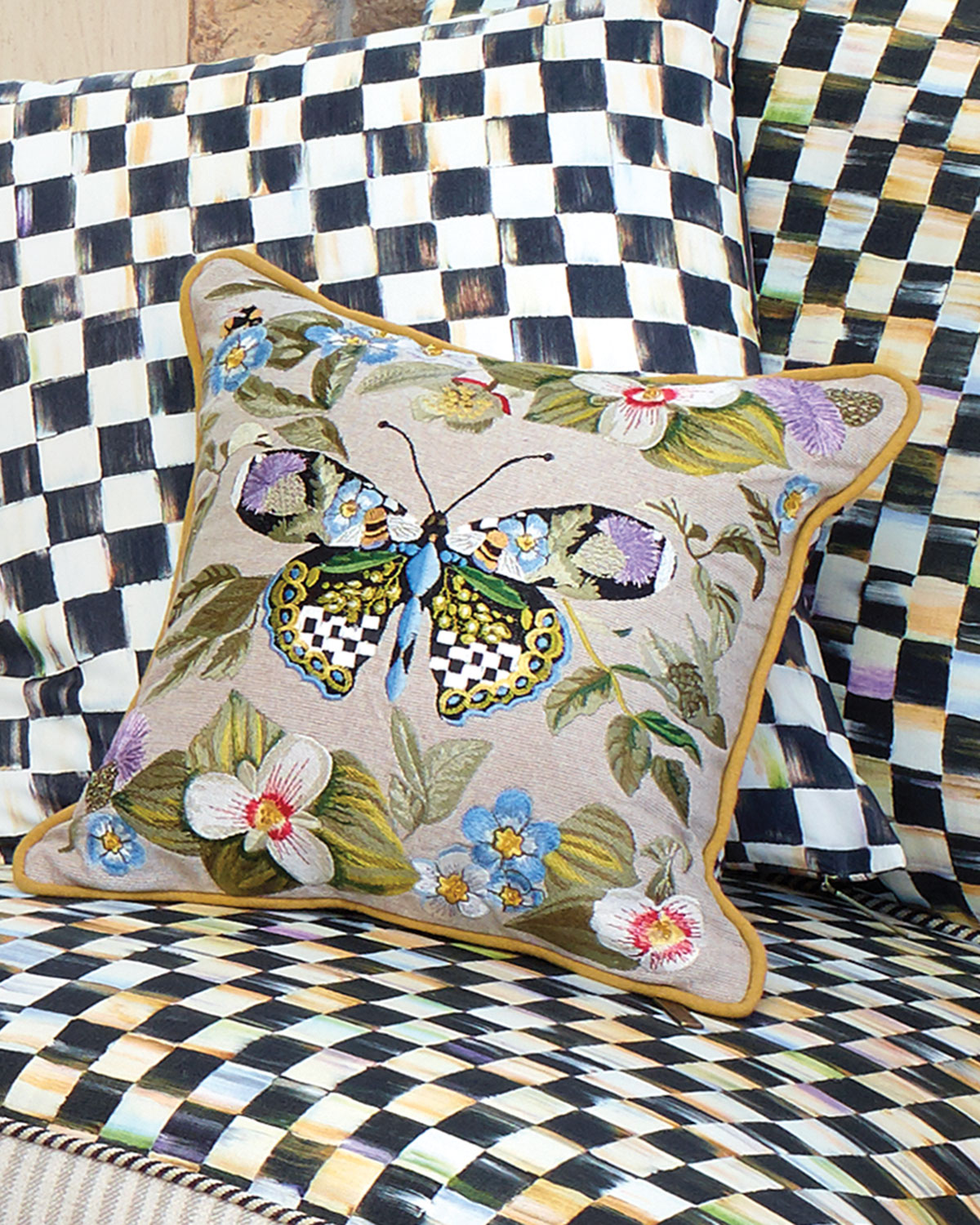 Small Thistle & Bee Square Pillow