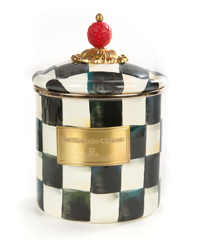 Courtly Check Enamel Canister, Small