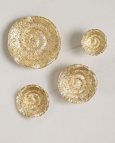 Gold Leaf Escargot Wall Hangings, Set of 4