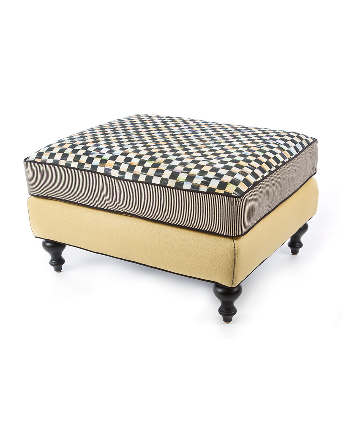 Courtly Check Underpinnings/Cornsilk Ottoman