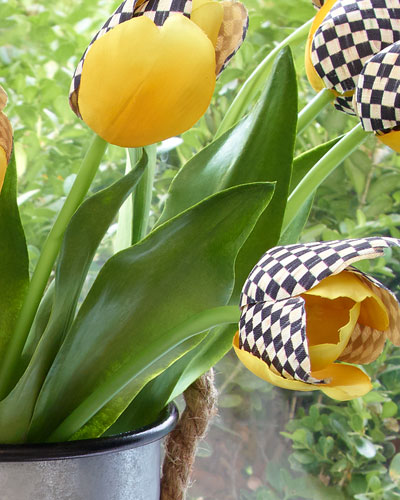 3 Courtly Check and Yellow Faux Tulips