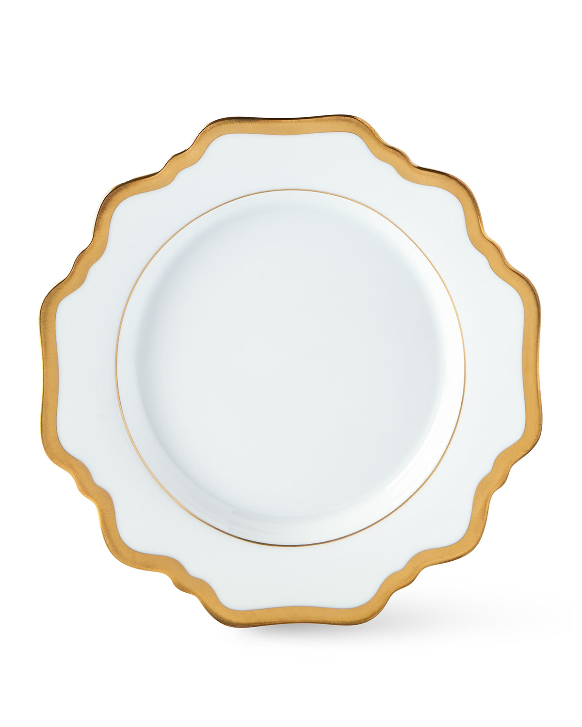 """""""Antique White with Gold"""" bread & butter plate. 6.5""""Dia. Scalloped fine porcelain with hand-painted goldtone detail. Hand wash."""