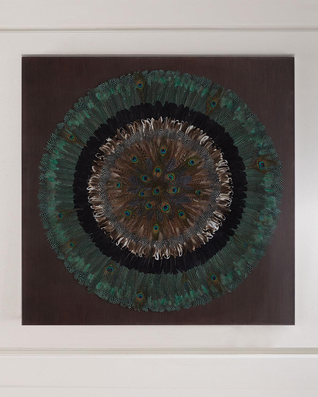 Peacock Feather Circle Wall Decor